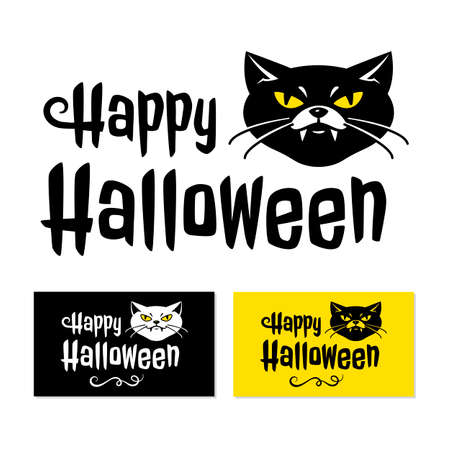 Happy Halloween card, Cat with vampire fangs and inscription Happy Halloween. Vector illustration  イラスト・ベクター素材
