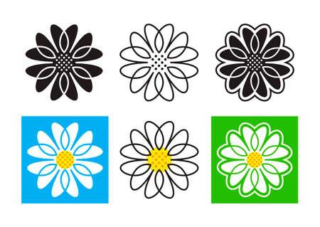 Daisies icons set. Daisy emblem Chamomile  . Vector illustration