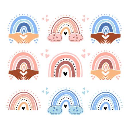 Vector baby rainbow set. Cute rainbows for boys and girls, Rainbow kids design