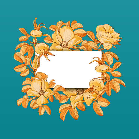 Floral picture frame with drawn rose hips and flowers. Fall background, Autumn frame Vector illustration  イラスト・ベクター素材