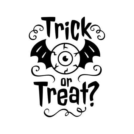 Trick or Treat emblem Happy Halloween card. Trick or treat black emblem on white background. Vector illustration  イラスト・ベクター素材