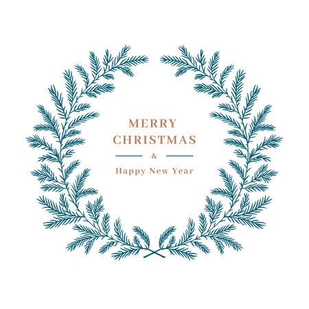 Christmas card, Winter wreath christmas tree branch, Christmas wreath. Elegant frame for greeting card, invitation or wedding decor, pine tree floral wreath. Vector illustration