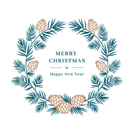 Christmas card, Winter wreath Spruce branch with cones. Merry Christmas and Happy New Year greeting. Floral wreath, wedding card designs trees. Vector isolated illustration