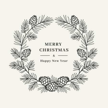 Merry Christmas card, Winter wreath Pine tree branch with cones, Floral wreath. Merry Christmas and Happy New Year greeting. Vector illustration  イラスト・ベクター素材