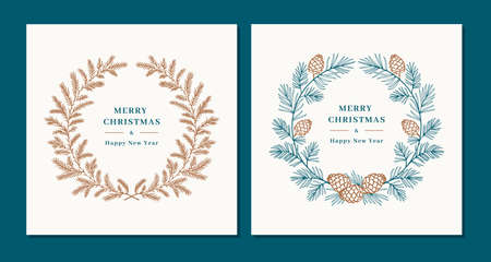 Christmas wreaths, Winter wreaths of fir and pine cones. Merry Christmas and Happy New Year greeting. Elegant minimal design. Vector illustration  イラスト・ベクター素材