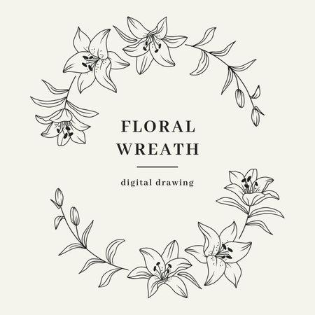 Oval floral wreath, Lily flower wreath. Elegant frame for invitation or wedding decor, lily flowers circle monogram. Vector illustration