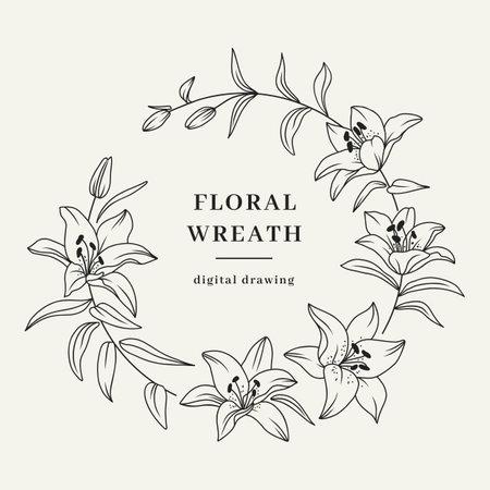 Lily flower wreath, floral wreath, lily flowers circle monogram, wedding frame. Vector illustration  イラスト・ベクター素材