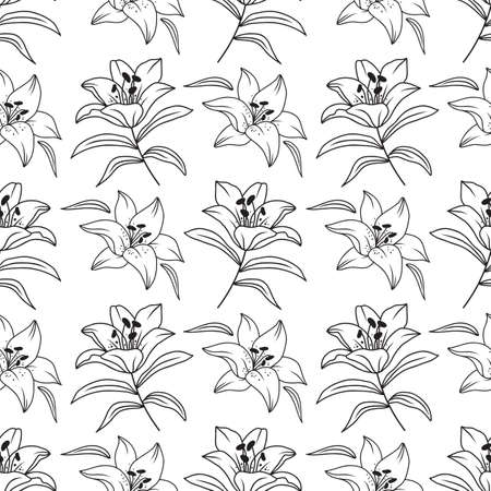 Lily seamless pattern, Elegant lilies drawn by a thin line. Floral pattern black and white. Vector illustration  イラスト・ベクター素材
