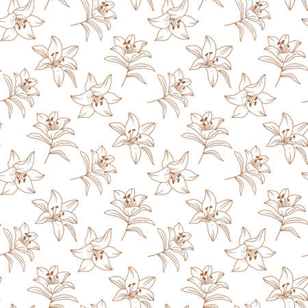 Vector flowers pattern, Lily pattern, Floral pattern modern. Elegant golden lilies drawn by a thin line. Vector pattern