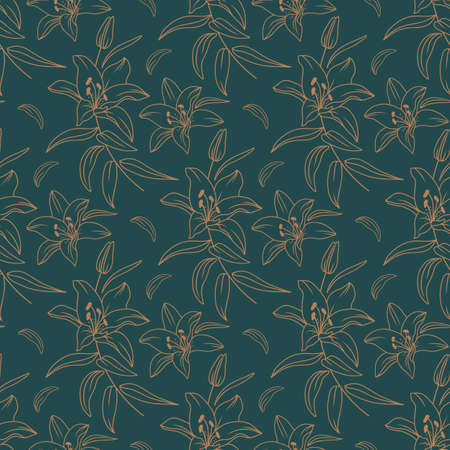 Lily pattern, Modern floral pattern, Elegant golden lilies on a dark green background, drawn in a thin line. Vector seamless pattern  イラスト・ベクター素材