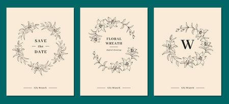 Invitation card designs, Lily flower wreath, floral wreath. Lily flowers circle monogram, wedding frame. Elegant minimalist templates for congratulations and wedding invitations. Vector clipart