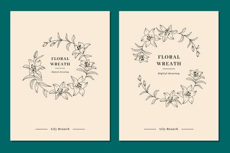 Floral wreath set, Wedding invitation templates, Lily flower wreath. Elegant minimalist templates for congratulations and wedding invitations. Vector illustration
