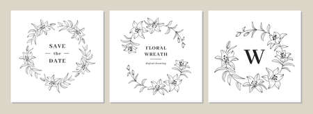 Save the date cards, Invitation cards, Wedding invitation template. Lily flower wreath, floral wreath. Lily flowers circle monogram, wedding frame. Vector clipart  イラスト・ベクター素材