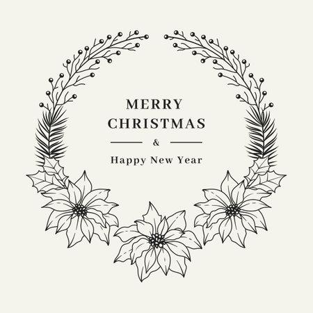Christmas floral wreath, Elegant Christmas frame with Poinsettia flowers. Hand drawn botanical vector design