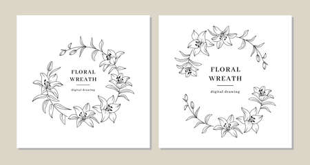 Floral wreath set, Lily flowers circle monogram, Wedding invitation templates, Lily flower wreath. Art for save the date cards, wedding invitation, anniversary, thank you card. Vector illustration  イラスト・ベクター素材