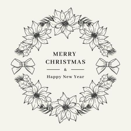 Christmas wreath Poinsettia flower, Floral wreath. Christmas card, Vector illustration  イラスト・ベクター素材