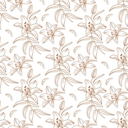 Lily pattern, Floral pattern modern, Elegant golden lilies drawn by a thin line. Vector flowers seamless pattern