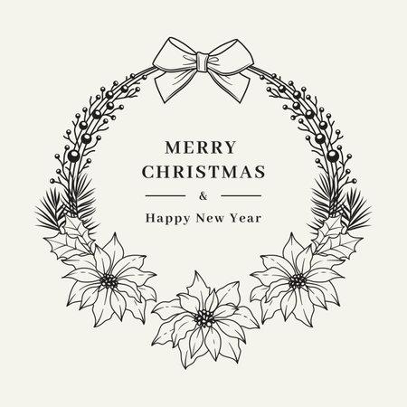 Christmas floral wreaths with poinsettia flowers. Elegant Christmas frame with Christmas greetings. Hand drawn botanical vector card