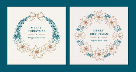 Christmas wreaths with poinsettia flowers. Merry Christmas and Happy New Year greeting card, Floral wreath. Elegant minimal design. Vector illustration