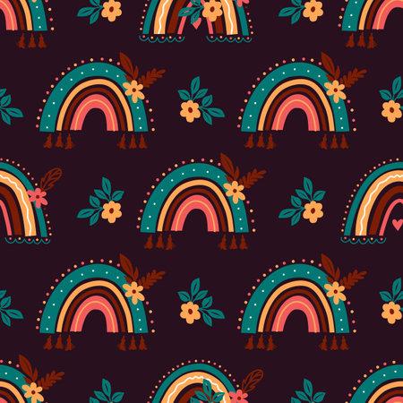 Boho rainbow pattern. Abstract rainbow background, Baby bohemian rainbows on dark background, Vector seamless pattern