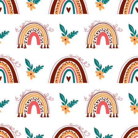 Boho rainbow pattern, Doodle rainbow background. Baby rainbow pattern on white background. Vector abstract rainbows in cartoon style