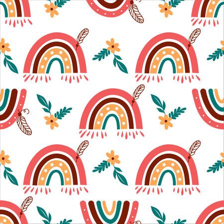 Modern rainbow pattern, Doodle rainbow background. Baby rainbow pattern on white background, Vector seamless pattern