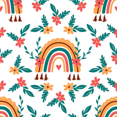 Vector rainbow pattern, Abstract boho rainbow seamless pattern. Baby rainbow background. Vector backdrop  イラスト・ベクター素材