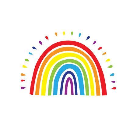 Rainbow logo, Cute hand drawn rainbow icon. Vector illustration  イラスト・ベクター素材