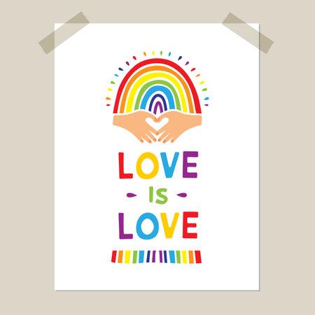 Rainbow poster, Hand-drawn rainbow and heart-shaped hands. Pride flag, LGBT movement emblem, Love emblem. Vector illustration