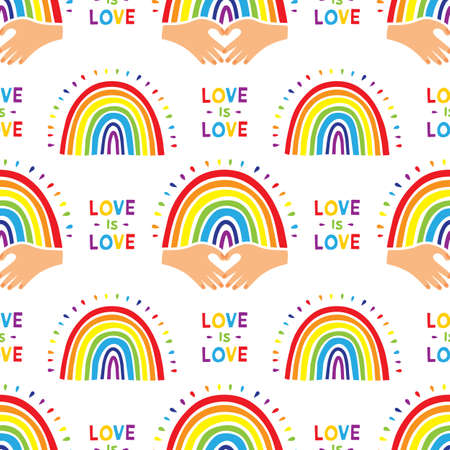 Rainbow pattern, Cute hand drawn rainbow. Seamless pattern with colorful rainbows and lettering Love is Love. Flat design Vector illustration  イラスト・ベクター素材