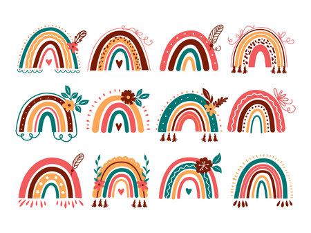 Vector rainbow set. Abstract boho rainbow, Baby rainbows with flowers. Vector flat illustration