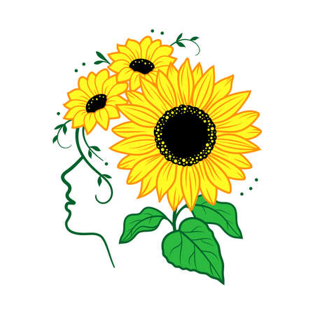 Sunflower vector, Woman face silhouette and sunflowers. Colorful print for t-shirt, card, poster, vector illustration