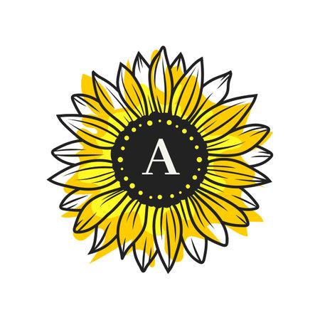Sunflower circle monogram, Sunflower frame, Sunflower floral frame clipart, Vector imitation of watercolor, digital illustration  イラスト・ベクター素材