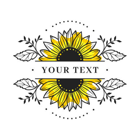 Sunflower frame, Sunflower split monogram, Floral border. Sunflower floral frame clipart, Vector illustration