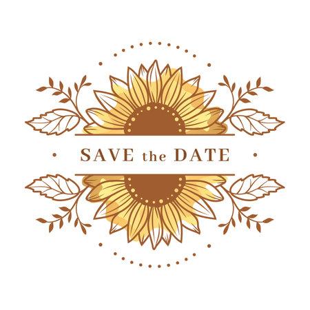 Sunflower frame, Sunflower split monogram. Save the date wedding card. Sunflower floral frame clipart. Vector illustration