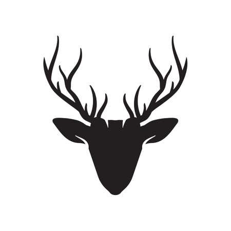 Vector Deer Head icon, Deer head black silhouette. Reindeer vector illustration