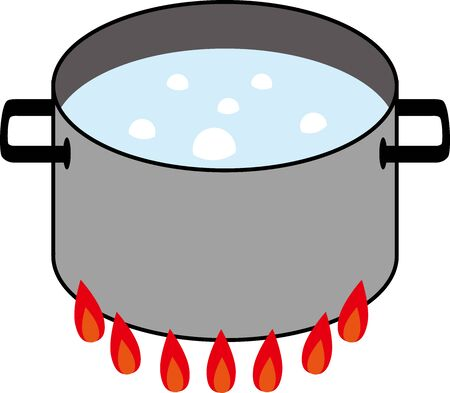 Illustration of a pan with boiling water