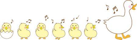 Illustration of duck parent and child Illustration