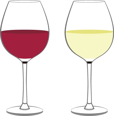Illustration of wine glasses with red and white wine