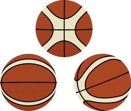 Three basketball simple vector illustration