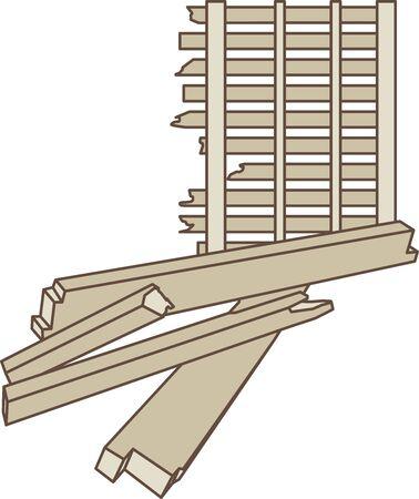 Illustration of wood building scrap material vector