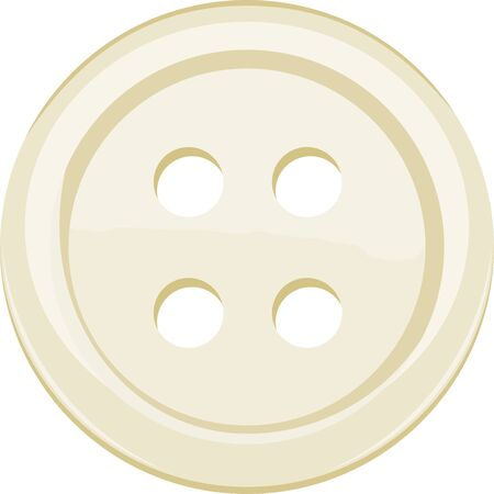 Vector illustration of single yellow clothing button