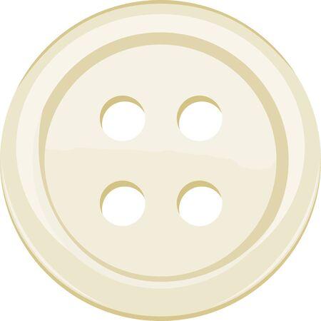 Vektorillustration des einzelnen gelben Kleidungsknopfes