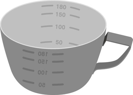 Stainless steel cooking measuring cup vector illustration Stock Illustratie