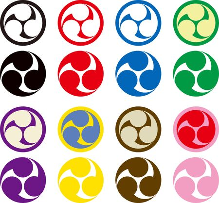 Japan tomoe icon assortment vector illustration Illustration