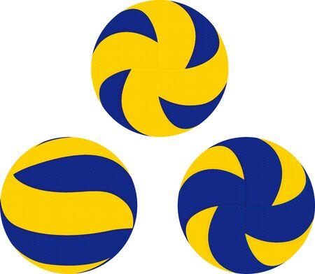 Three blue and yellow volleyball vector illustration Illustration