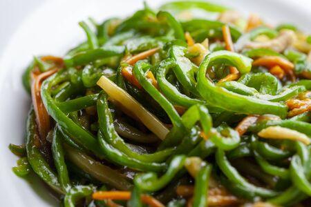 Stir-fried shredded beef and green pepper Stock fotó