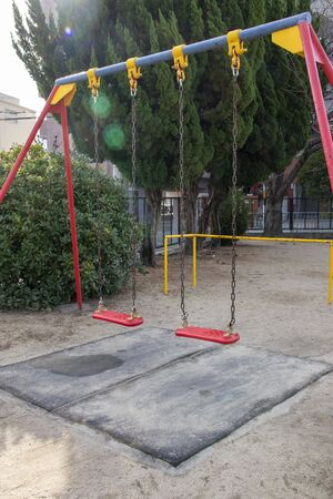 Red swing in Japanese park