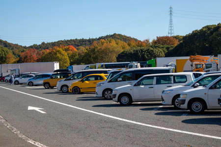 Truck stop parking lot on a Japanese highway
