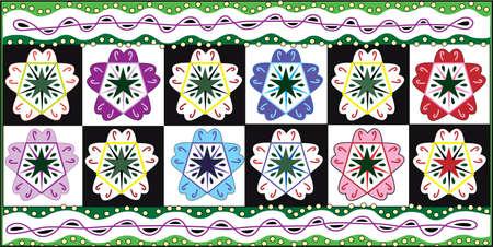 Pansies:  textile pattern vector illustration